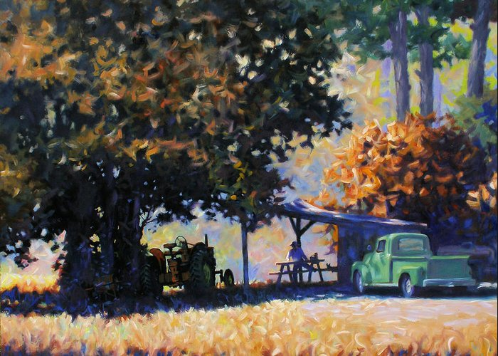 Rural Greeting Card featuring the painting Lunch by Kevin Lawrence Leveque
