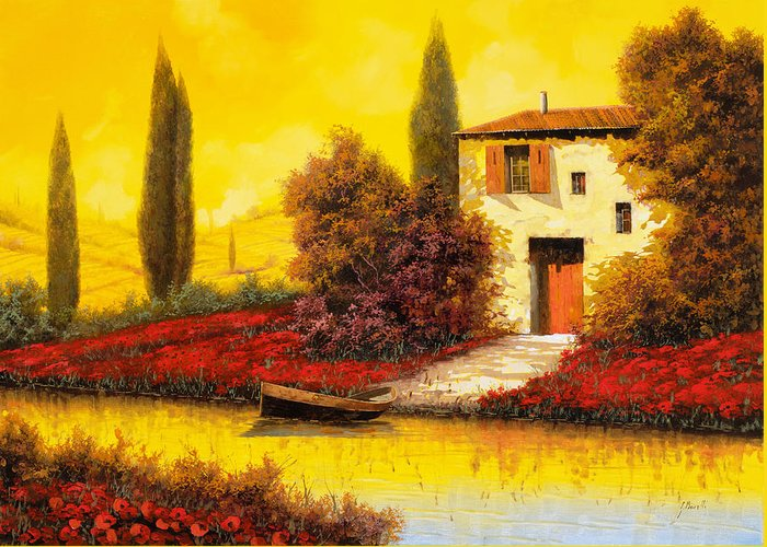 Landscape Greeting Card featuring the painting Lungo Il Fiume Tra I Papaveri by Guido Borelli