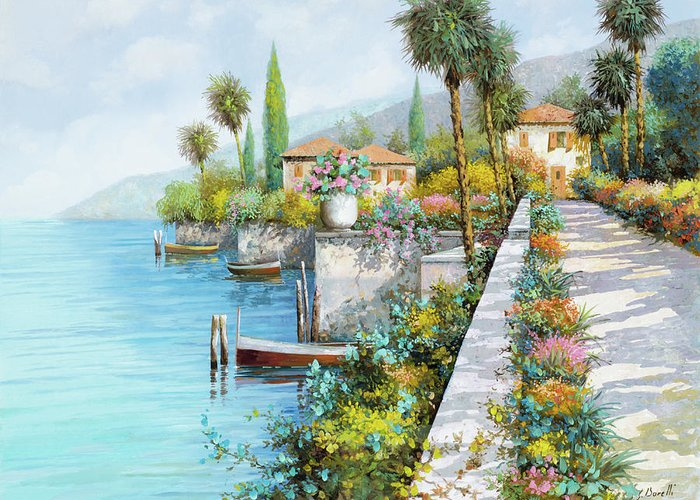 Lake Greeting Card featuring the painting Lungolago by Guido Borelli