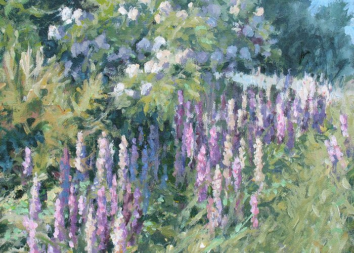 Lupine Field Greeting Card featuring the painting Lupine On Parade by L Diane Johnson