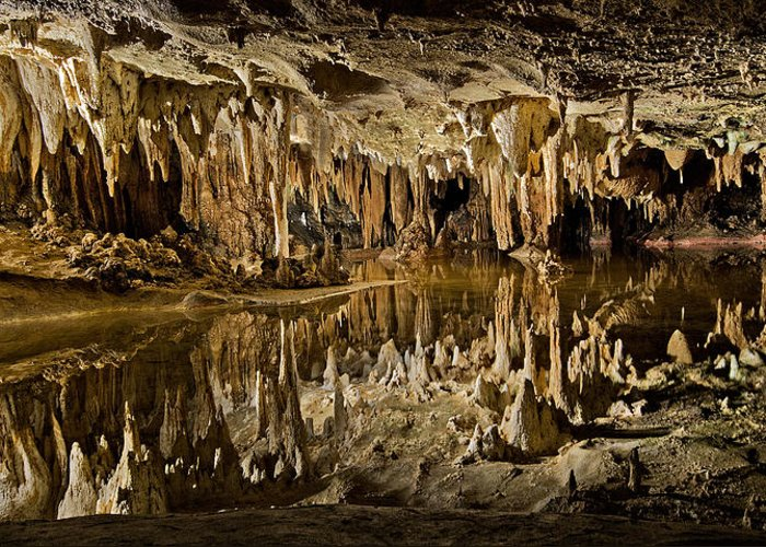 Luray Greeting Card featuring the photograph Luray Caverns - Virginia - Reflections At Dream Lake by Brendan Reals