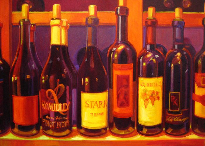 Wine Painting Greeting Card featuring the painting Lush by Penelope Moore