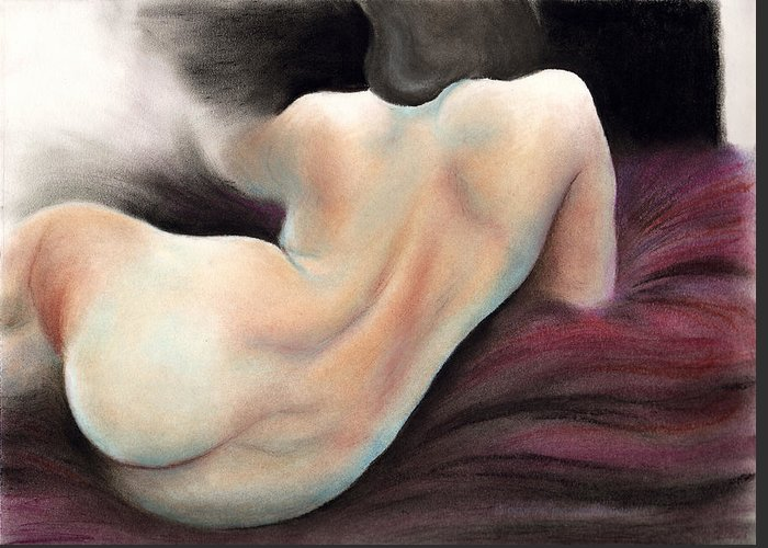 Nude Greeting Card featuring the pastel Lush by Scott Kirkman
