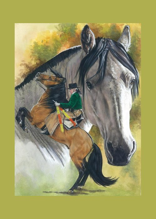 Horses Greeting Card featuring the mixed media Lusitano by Barbara Keith