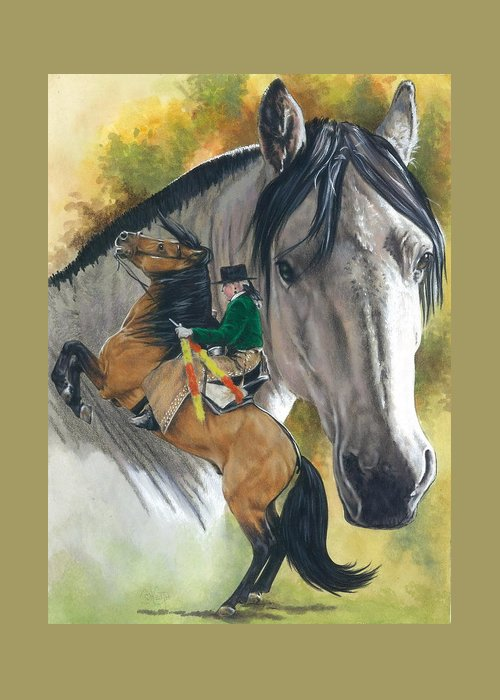 Hoof Stock Greeting Card featuring the mixed media Lusitano by Barbara Keith
