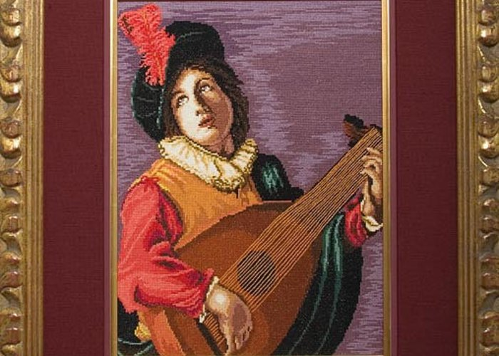 Luteplayer Bartalomeo Manfredi Greeting Card featuring the painting Luteplayer by Elena Soldatkina