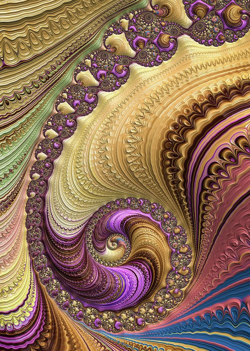 Spiral Greeting Card featuring the digital art Luxe Colorful Fractal Spiral by Matthias Hauser