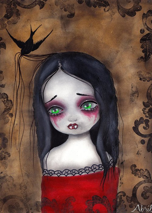Gothic Greeting Card featuring the painting Luzie by Abril Andrade Griffith