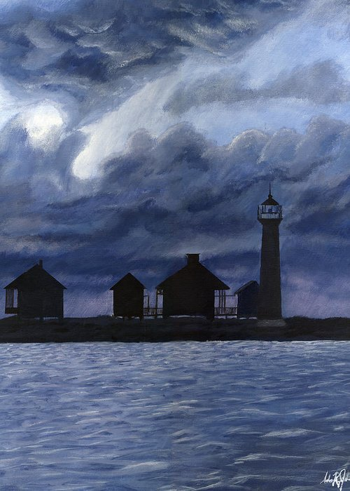 Landscape Greeting Card featuring the painting Lydia Ann Lighthouse by Adam Johnson