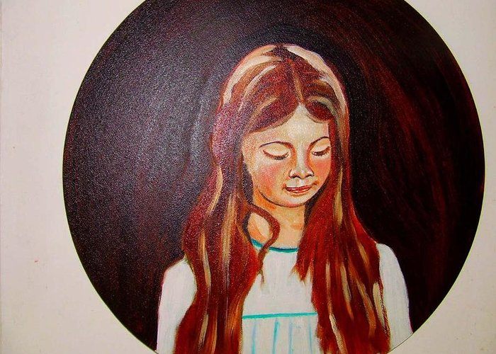 Portraits Greeting Card featuring the painting Lydia by Rusty Gladdish