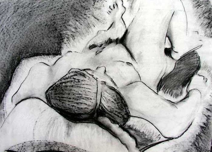 Nude Greeting Card featuring the drawing Lying Down Nude by Brad Wilson