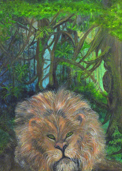 Lion Greeting Card featuring the painting Lying Lion by Mikki Alhart