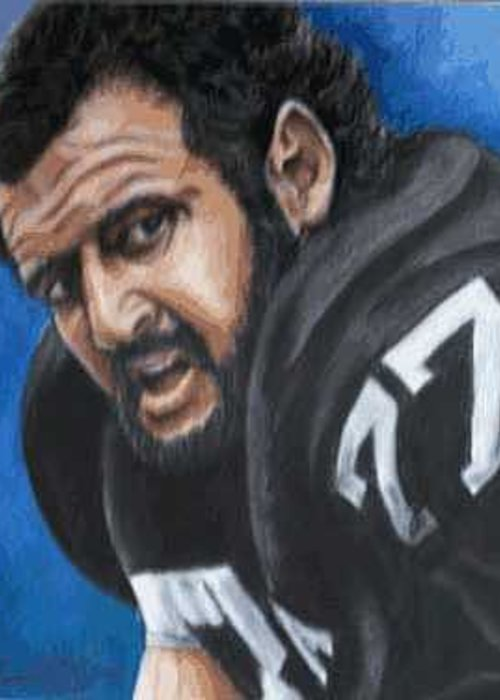 Portrait Greeting Card featuring the painting Lyle Alzado by Kenneth Kelsoe