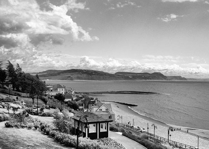 Blackandwhitephotography Greeting Card featuring the photograph Lyme Regis And Lyme Bay, Dorset by John Edwards