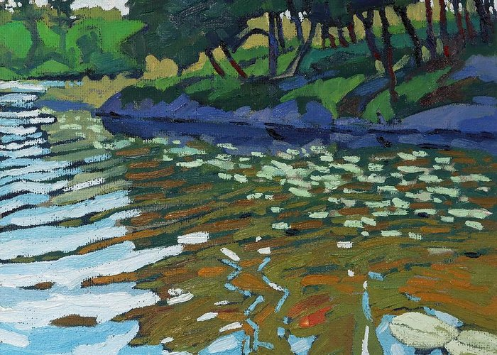Red Greeting Card featuring the painting Lyndhurst Lake by Phil Chadwick