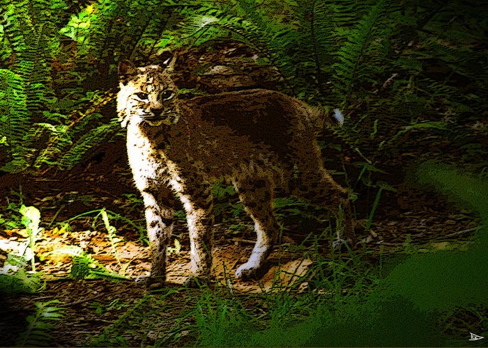 Art Greeting Card featuring the painting Lynx Rufus by David Lee Thompson