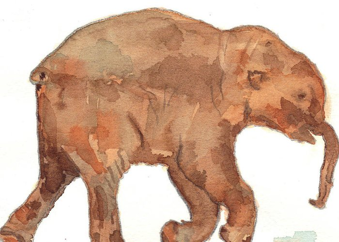 Baby Mammoth Greeting Card featuring the painting Lyuba The Ice Baby Mammoth by Warren Thompson
