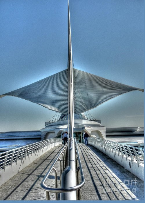 Milwaukee Art Museum Greeting Card featuring the photograph M A M Unfurled by David Bearden