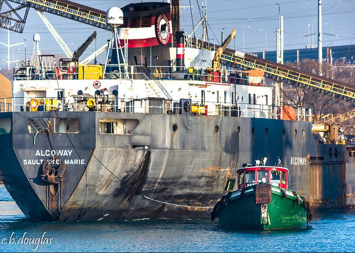106th Street Bridge Greeting Card featuring the photograph M/v Algoway And Tug Massachusetts by Christine Douglas