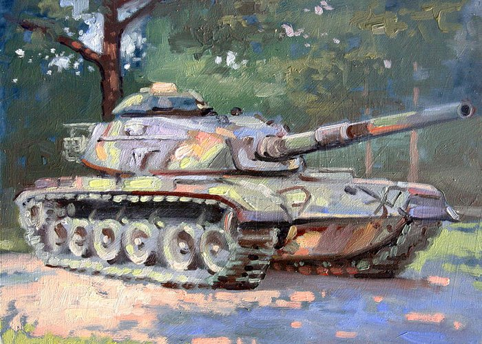 Landscape Greeting Card featuring the painting M60 A3 Desert Storm Tank- Plein Air by Larry Seiler