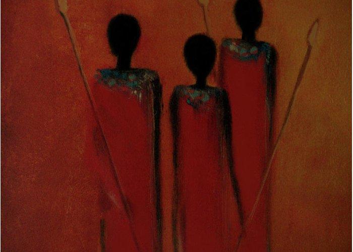 Maasai Greeting Card featuring the digital art Maasai Trio by David Dehner
