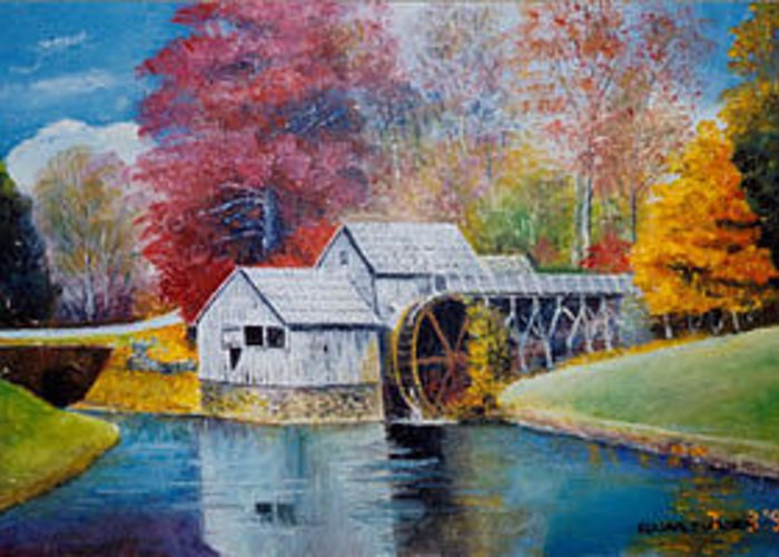 Oldgristmill Greeting Card featuring the painting Mabry Mill On Blue Ridge Parkway In Va. Usa by Anne-Elizabeth Whiteway