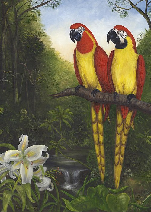 Landscape Greeting Card featuring the painting Macaws And Lillies by Anne Kushnick