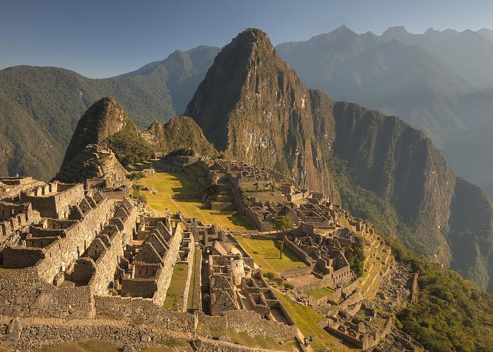 00498223 Greeting Card featuring the photograph Machu Picchu At Dawn Near Cuzco Peru by Colin Monteath
