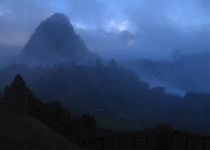 Landscape Greeting Card featuring the photograph Machu Picchu Dawn by Sam Oppenheim