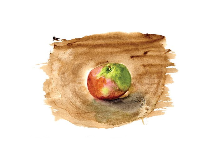 Apple Greeting Card featuring the painting Macintosh by Paul Gaj