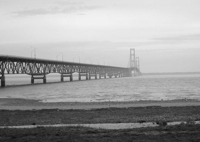 Michigan Greeting Card featuring the photograph Mackinaw Bridge by Scott Hovind