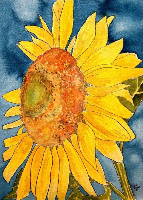 Sunflower Greeting Card featuring the painting Macro Sunflower Art by Derek Mccrea