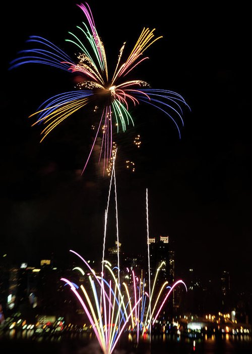 4th Of July Greeting Card featuring the photograph Macy's Fireworks I by David Hahn