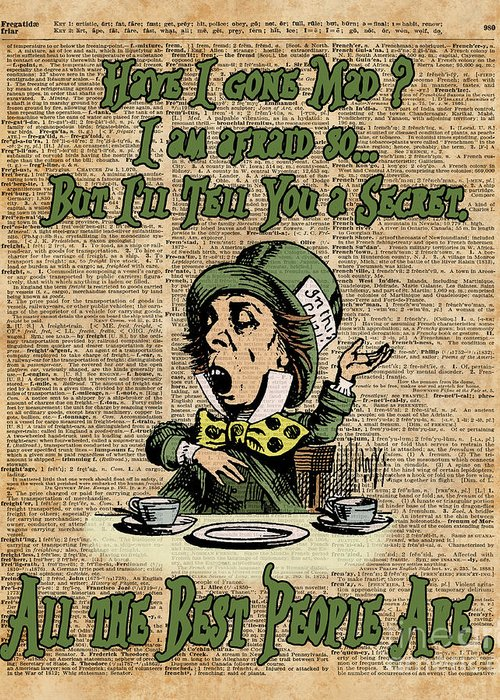 Alice In Wonderland Quote | Mad Hatter Alice In Wonderland Madness Quote Vintage Dictionary