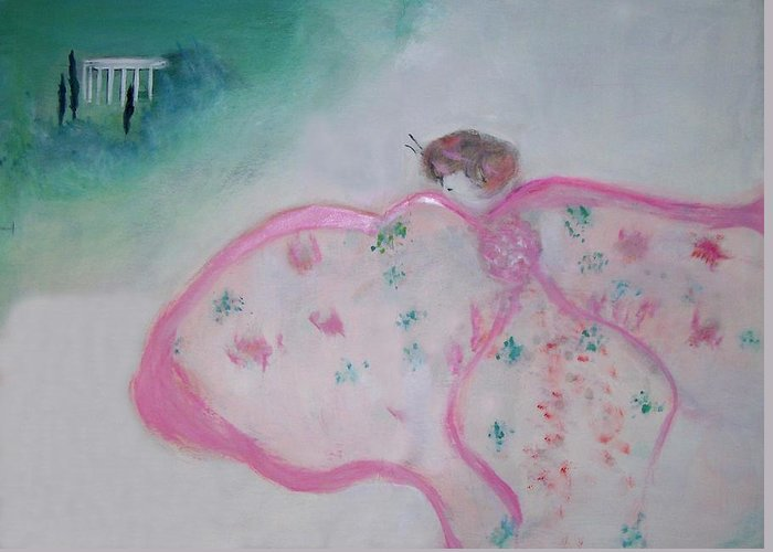 Fantasy Greeting Card featuring the painting Madame Butterfly - Flight To Eterna by Michela Akers