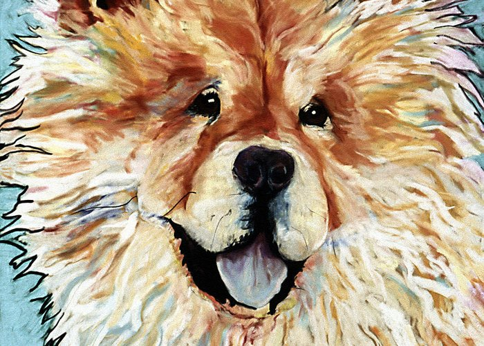 Chow Chow Greeting Card featuring the pastel Madame Chu Cho by Pat Saunders-White