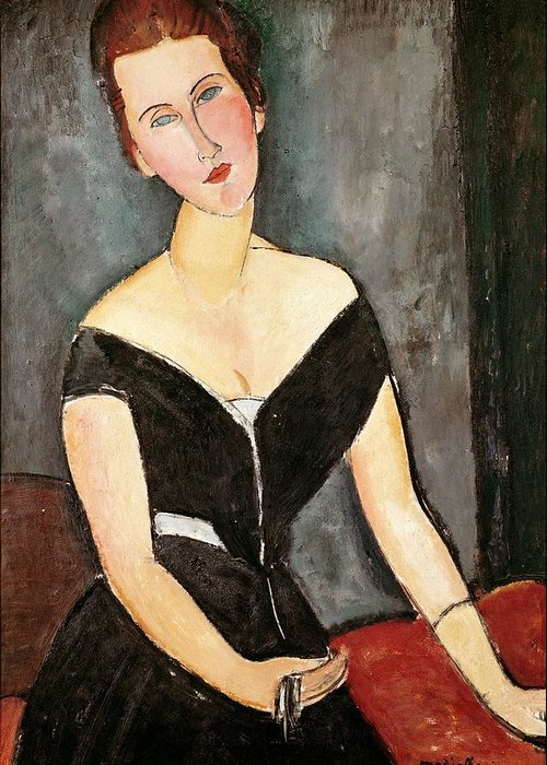 Madame Greeting Card featuring the painting Madame G Van Muyden by Amedeo Modigliani