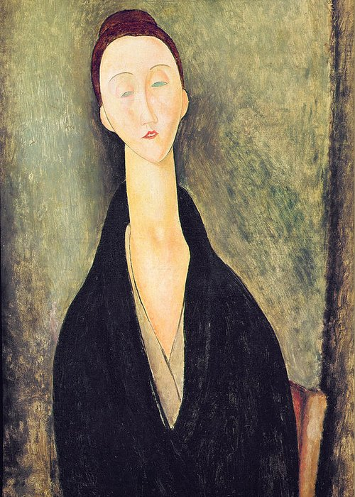 Madame Greeting Card featuring the painting Madame Hanka Zborowska by Amedeo Modigliani