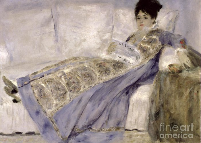 Madame Greeting Card featuring the painting Madame Monet On A Sofa by Pierre Auguste Renoir