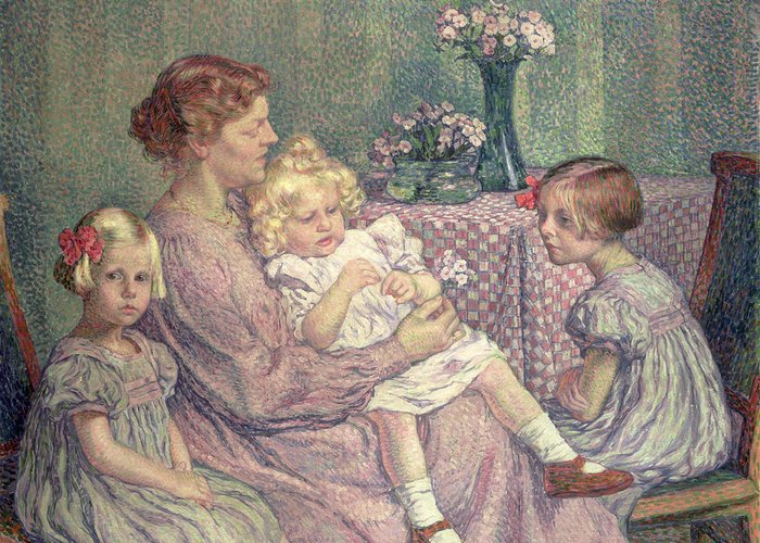 Madame Greeting Card featuring the painting Madame Van De Velde And Her Children by Theo van Rysselberghe