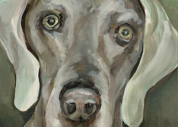 Dog Greeting Card featuring the painting Maddie by Linda Vespasian