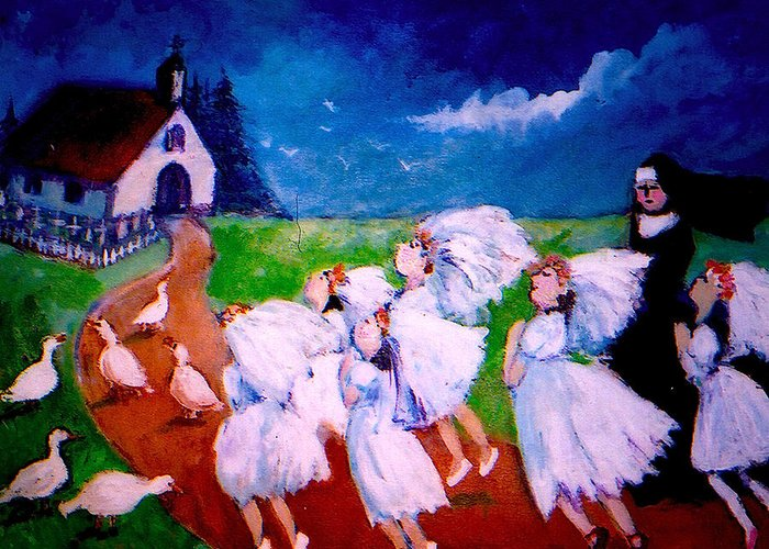 Greeting Card featuring the painting Madeleine's Red Shoes by Anne Marie Bourgeois