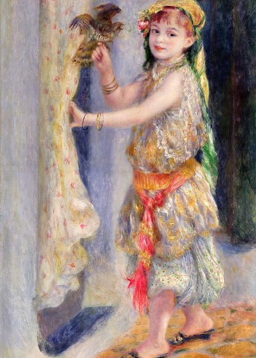 Female; Portrait; Traditional Algerian Costume; Young Girl; Child; Children; Impressionist; Bird; Innocent; Innocence; Fancy Dress Greeting Card featuring the painting Mademoiselle Fleury In Algerian Costume by Pierre Auguste Renoir