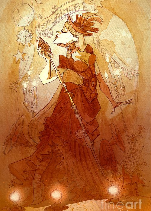 Woman Greeting Card featuring the painting Mademoiselle Veronique by Brian Kesinger