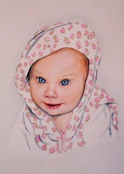 Portrait Greeting Card featuring the painting Madi by Diane Ziemski
