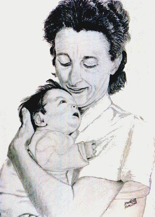 Madona Greeting Card featuring the drawing Madona And Baby by Stan Hamilton