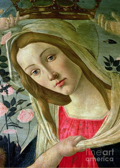 Crown; Renaissance; Female Greeting Card featuring the painting Madonna And Child Crowned By Angels by Sandro Botticelli