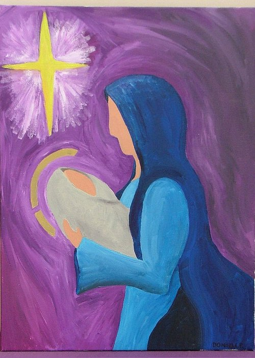 Madonna Greeting Card featuring the painting Madonna And Child by Donielle Boal