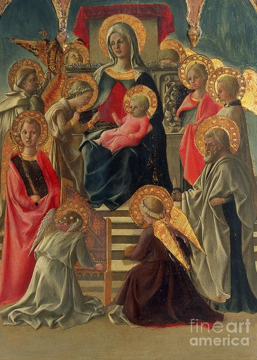 Madonna Greeting Card featuring the painting Madonna And Child Enthroned With Angels And Saints by Fra Filippo Lippi