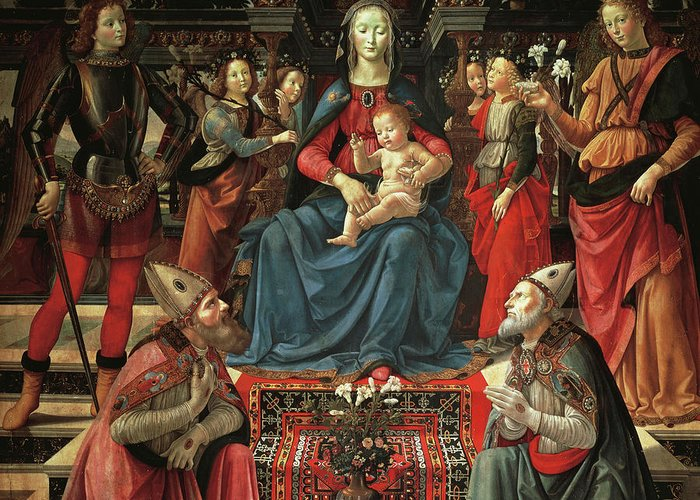 Ghirlandaio Greeting Card featuring the painting Madonna And Child Enthroned With Saints by Domenico Ghirlandaio